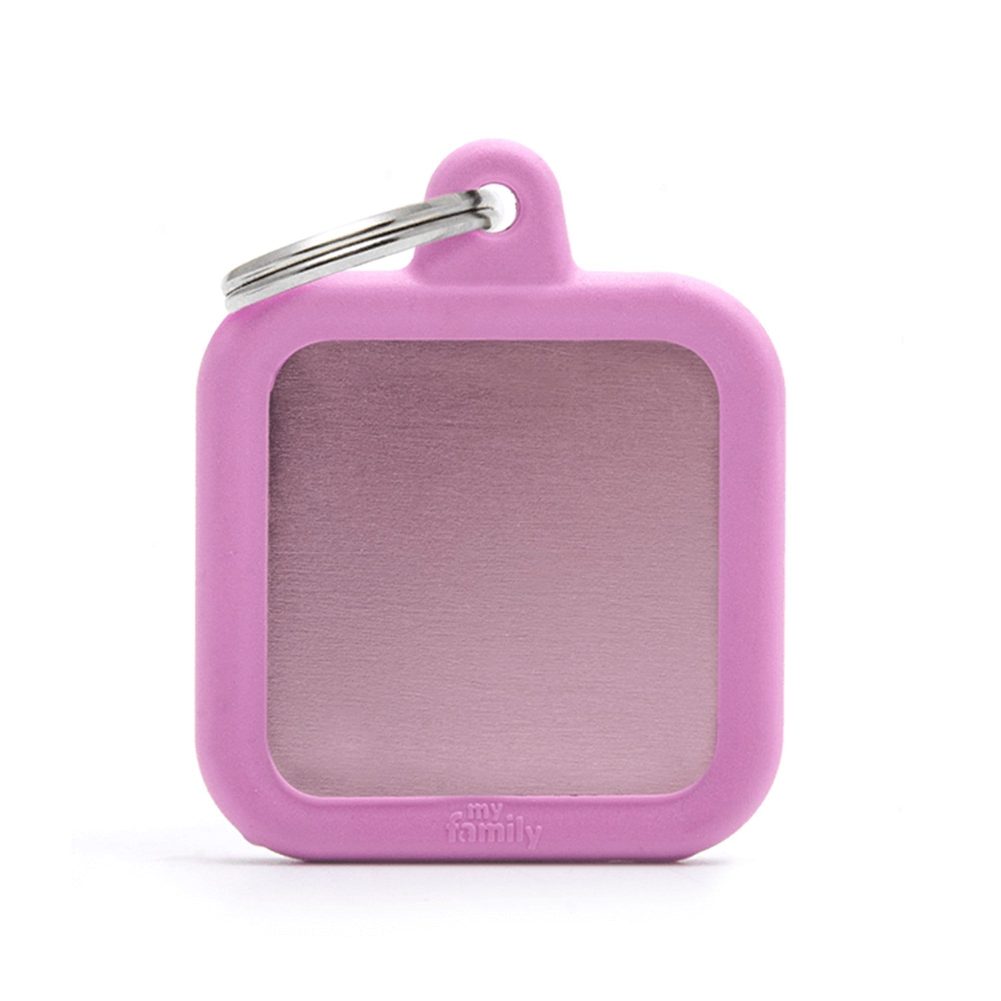My Family Aluminium Pink Square With Rubber Dog I.D. Tags 3F3B