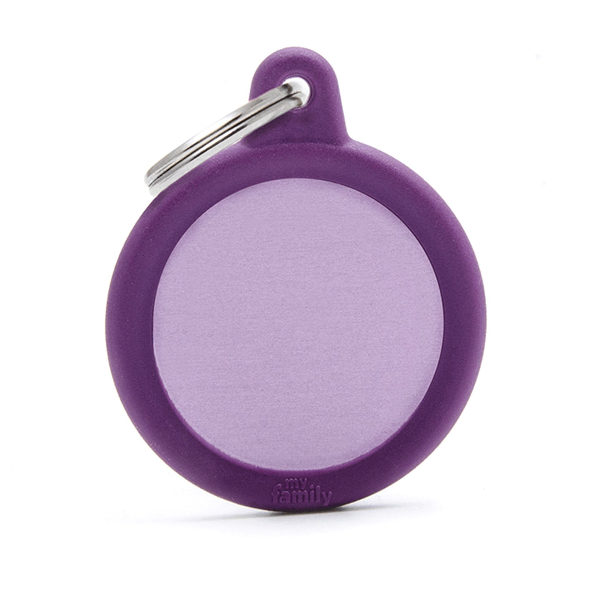 My Family Aluminium Purple Circle With Rubber Dog I.D. Tags 3F3B