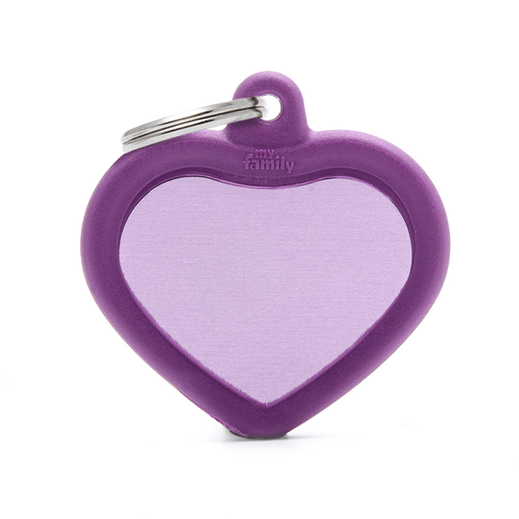 My Family Aluminium Purple Heart With Rubber Dog I.D. Tags 3F3B