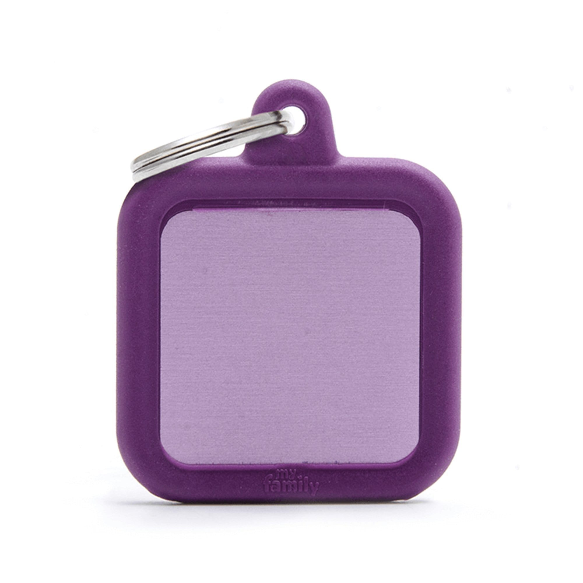 My Family Aluminium Purple Square With Rubber Dog I.D. Tags 3F3B