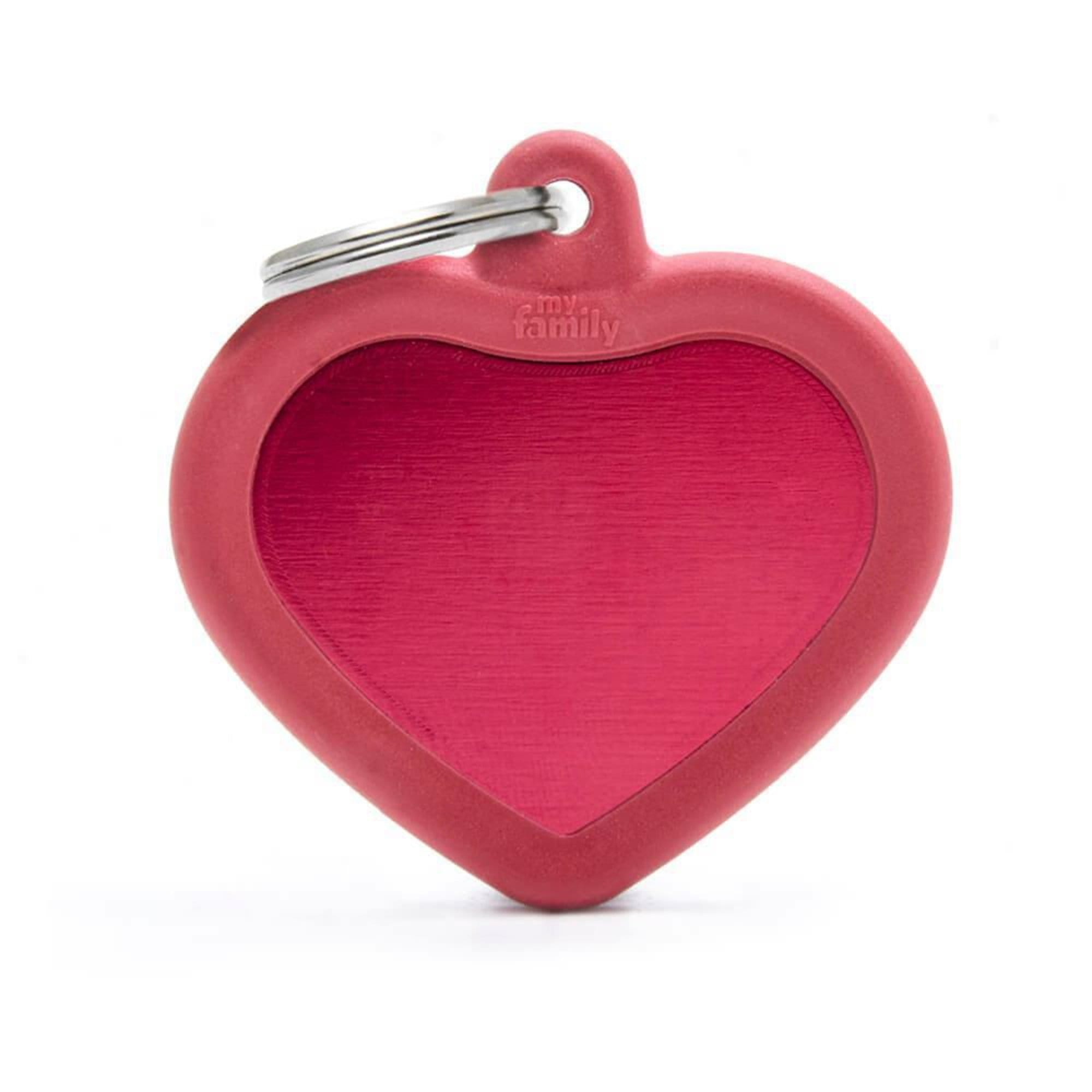 My Family Aluminium Red Heart With Rubber Dog I.D. Tags 4F4B
