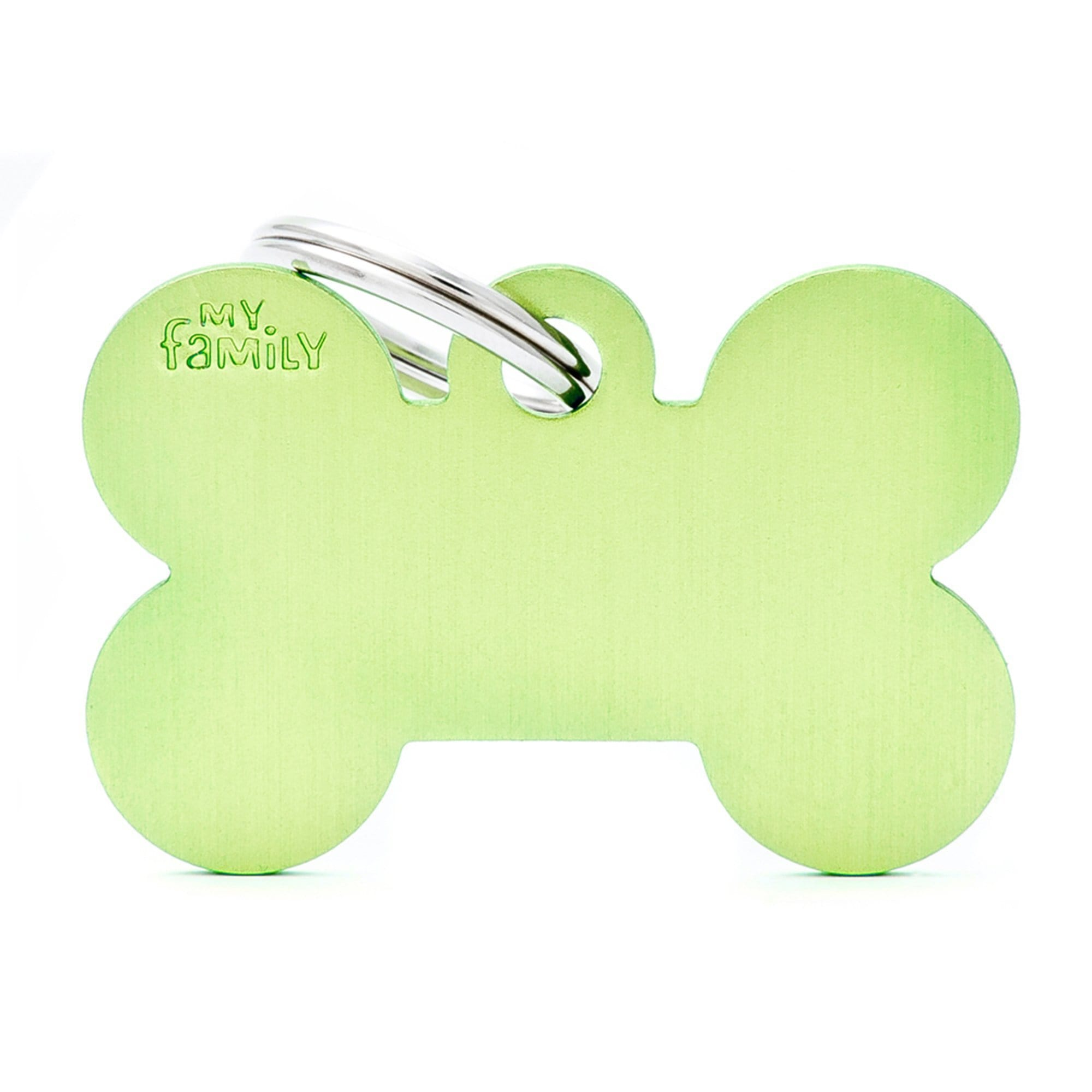 My Family Big Aluminium Green Bone PET I.D TAG