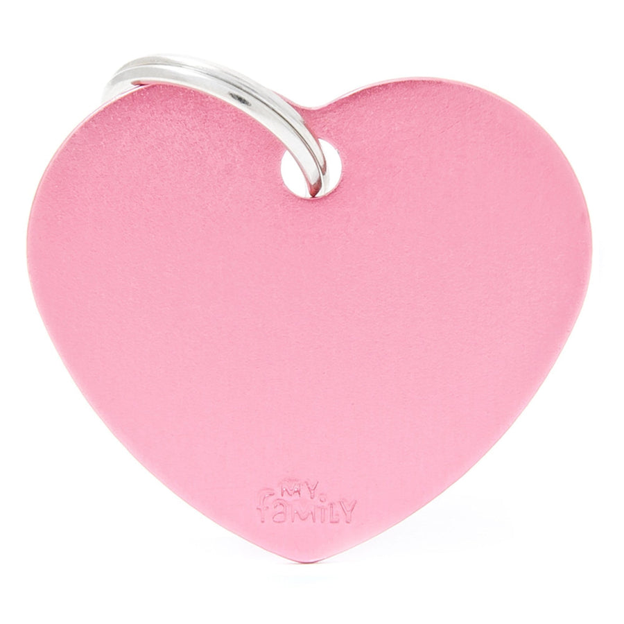 My Family Big Aluminium Pink heart Pet I.D. TAG