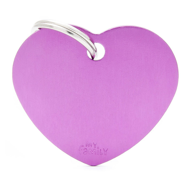 My Family Big Aluminium Purple heart Pet I.D. TAG