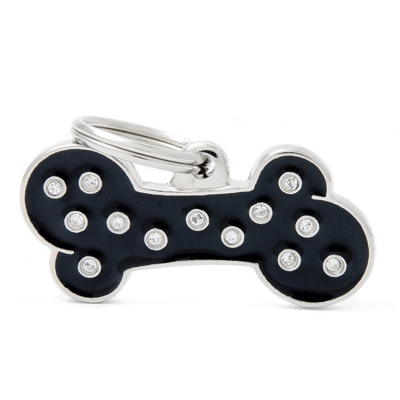 My Family Chic Black Big Bone PET I.D TAG