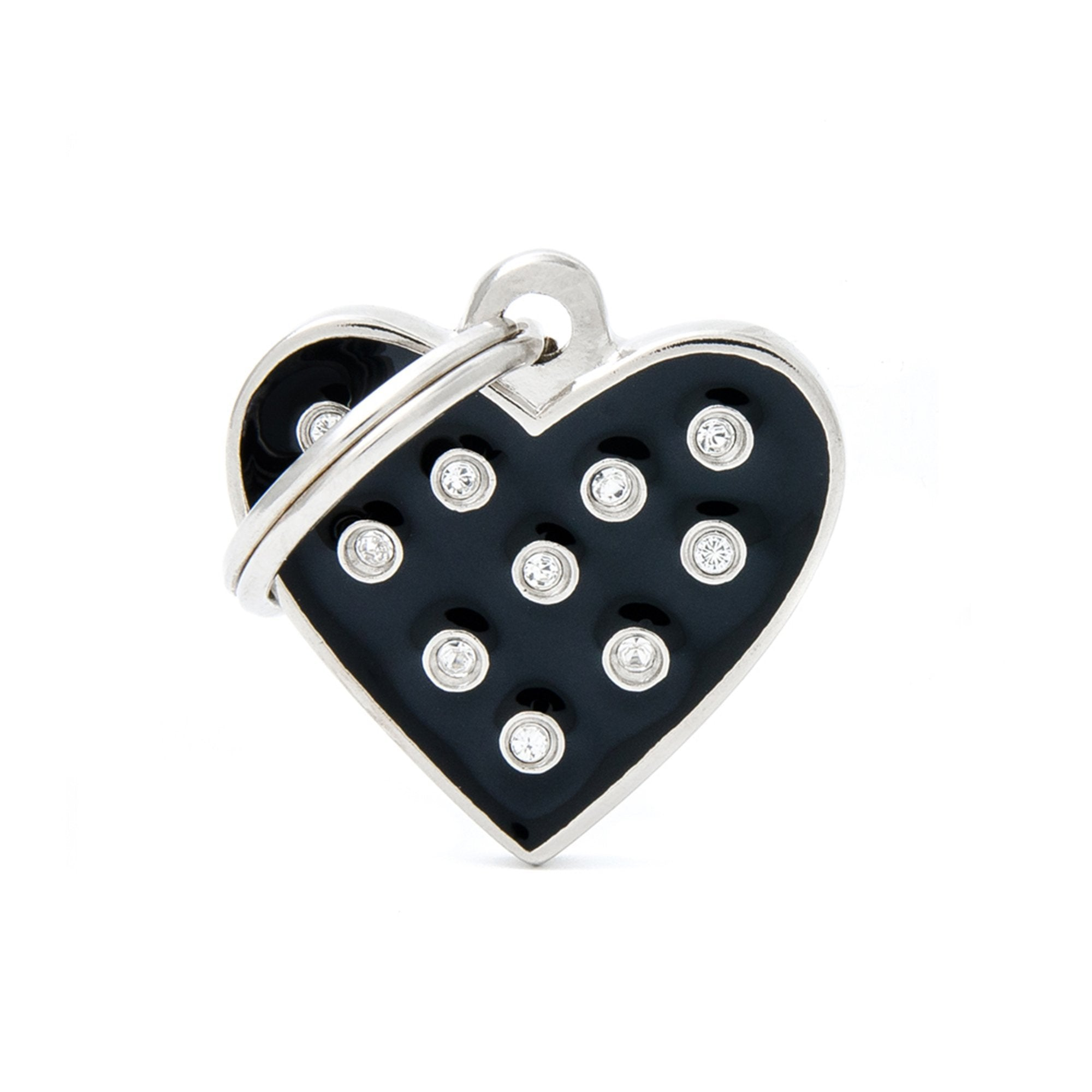 My Family Chic Black Heart PET I.D TAG