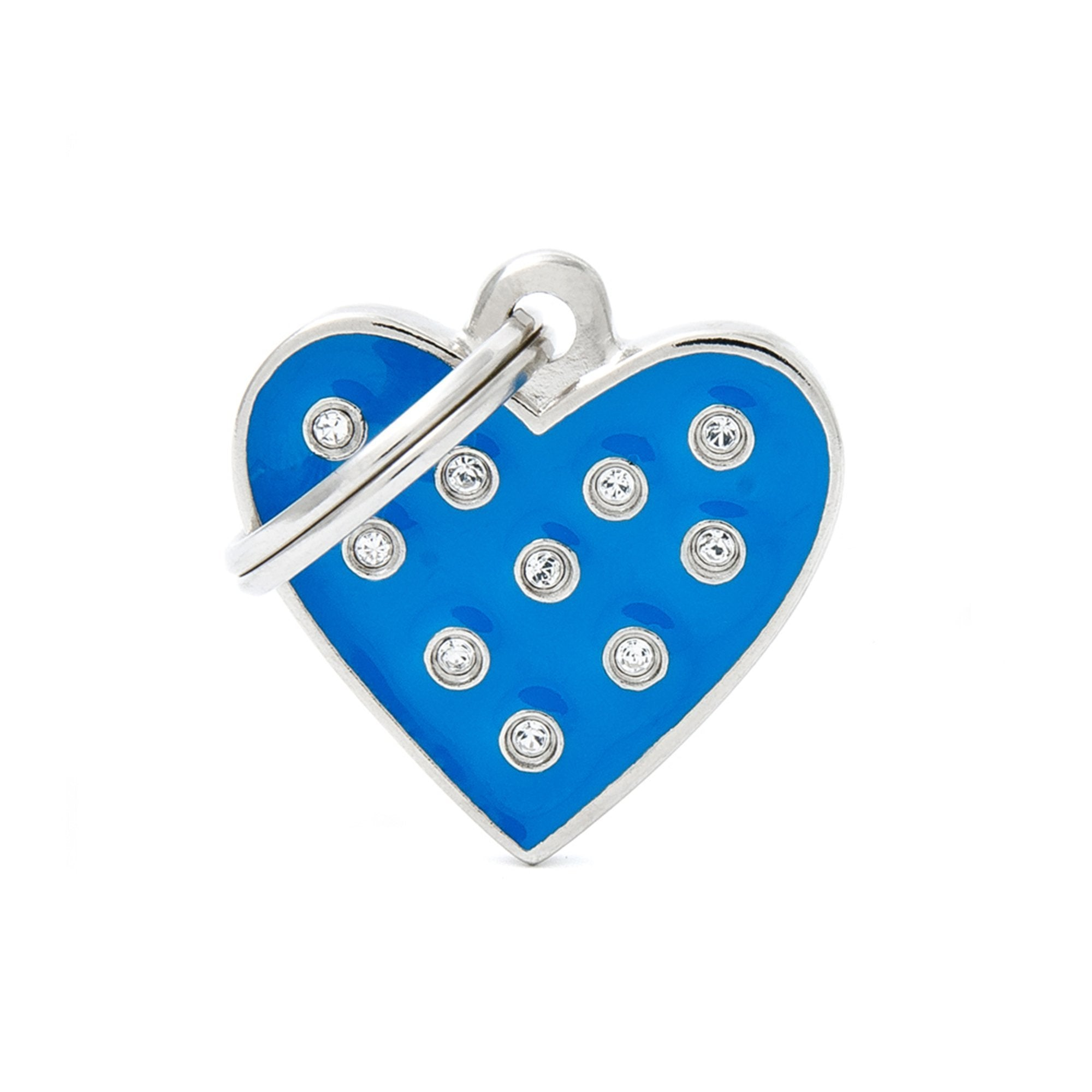 My Family Chic Blue Heart PET I.D TAG