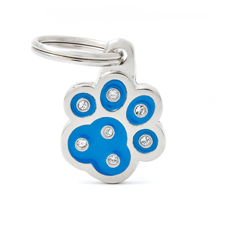 My Family Chic Blue Paw PET I.D TAG