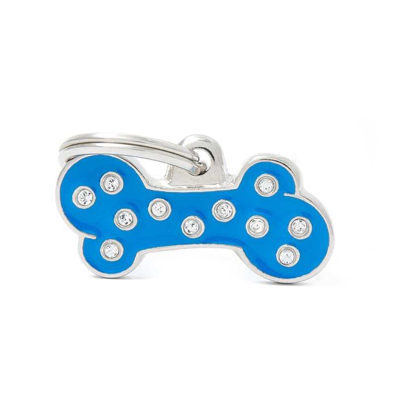 My Family Chic Blue Small Bone PET I.D TAG