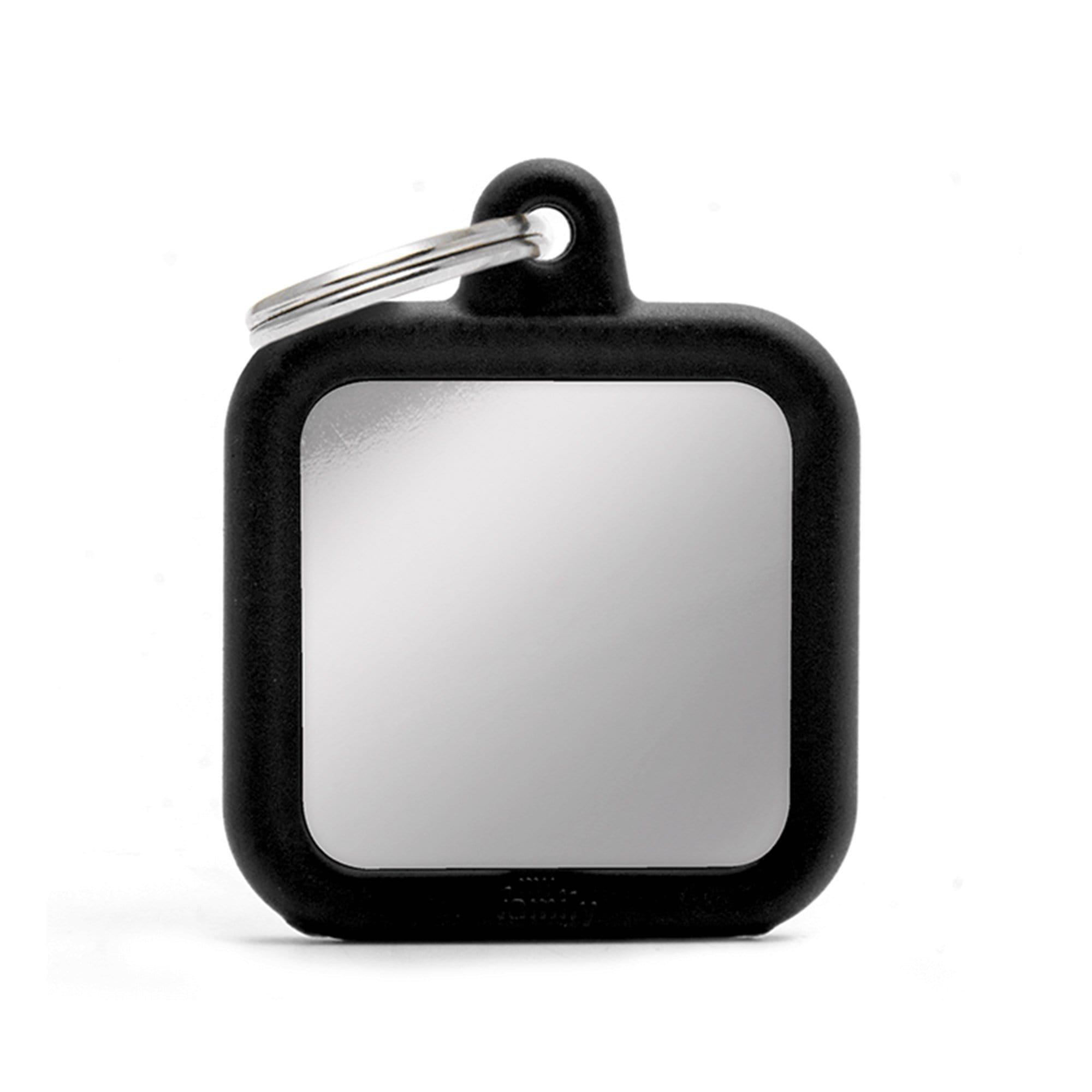 My Family Chromed Black Square With Rubber Dog I.D. Tags 3F3B