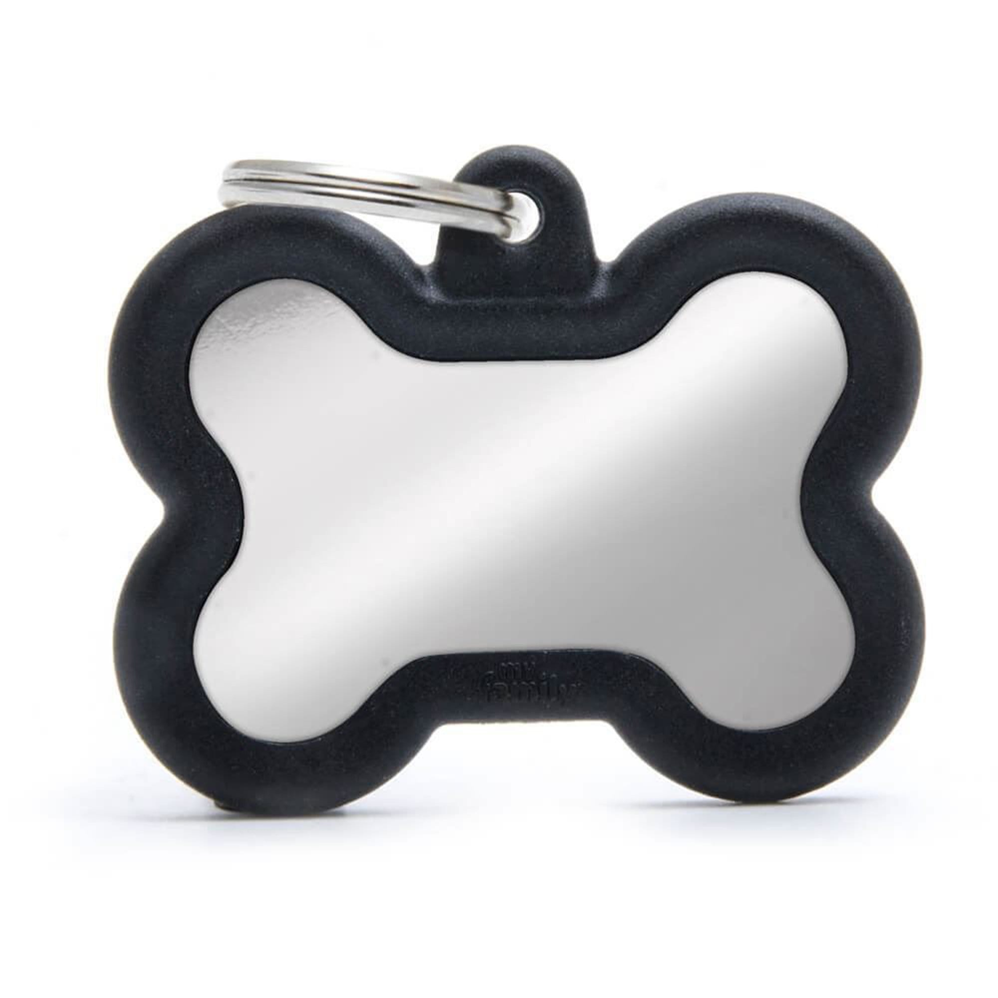 My Family Chromed Bone With Black Rubber Dog I.D. Tags 4F4B