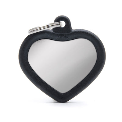 My Family Chromed Heart With Black Rubber Dog I.D. Tags 3F3B
