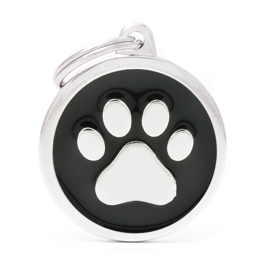 My Family Classic Black Paw Pet I.D. Tag