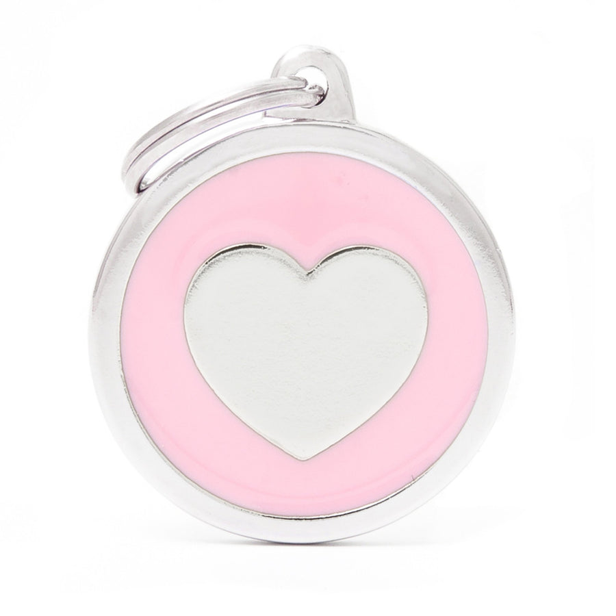 My Family Classic Pink heart  PET I.D. TAG