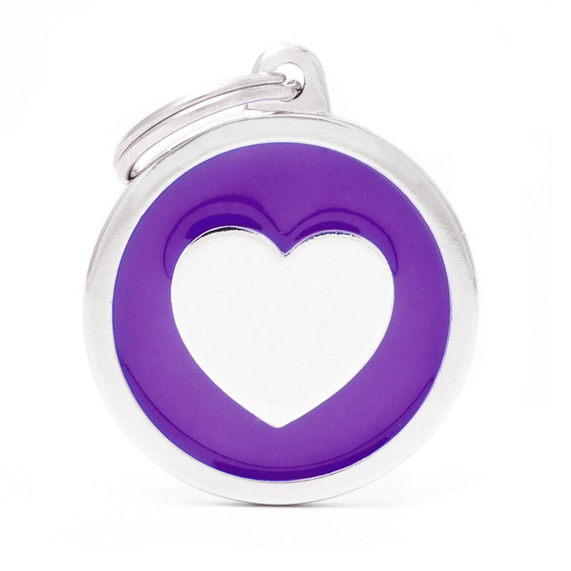 My Family Classic Purple heart  PET I.D. TAG