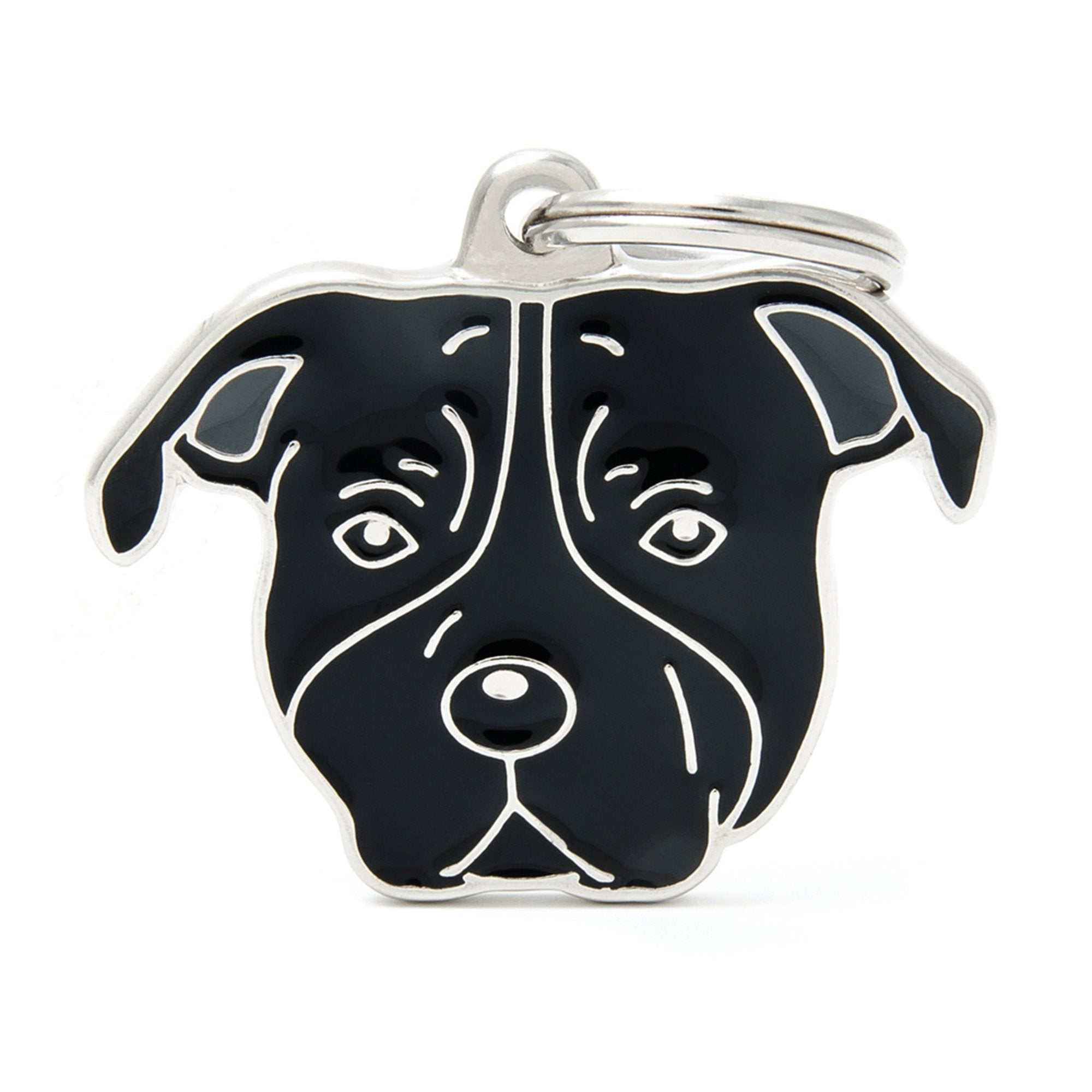 My Family Friends Black American Staffordshire Dog I.D Tag