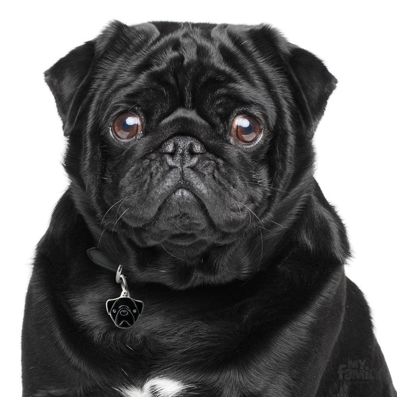 My Family Friends Black Pug Dog I.D. Tag