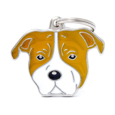 My Family Friends White and Brown Staffordshire Dog I.D Tag