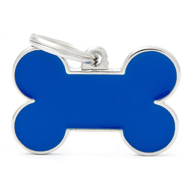 My Family Large Handmade Blue Bone PET I.D TAG