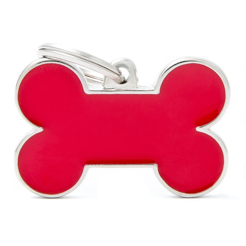 My Family Large Handmade Red Bone PET I.D TAG