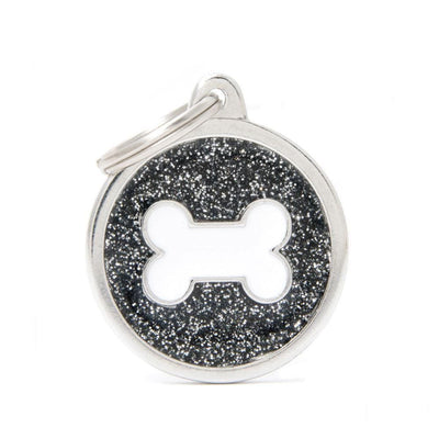 My Family Shine Black Circle With White Bone Dog I.D. Tags - 3B