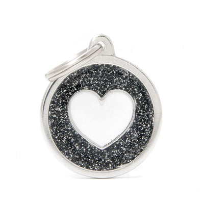 My Family Shine Black Circle With White Heart Dog I.D. Tags - 3B