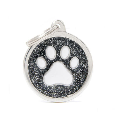 My Family Shine Black Circle With White Paw Dog I.D. Tags - 3B