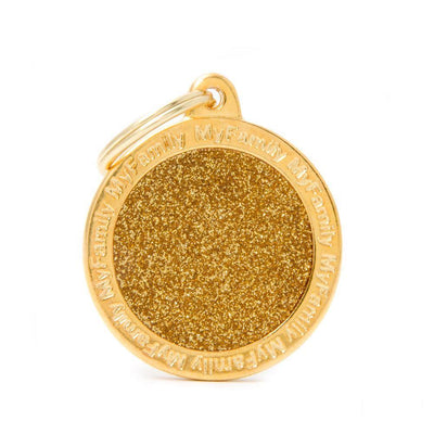 My Family Shine Gold Big Circle Dog I.D. Tags - 3B