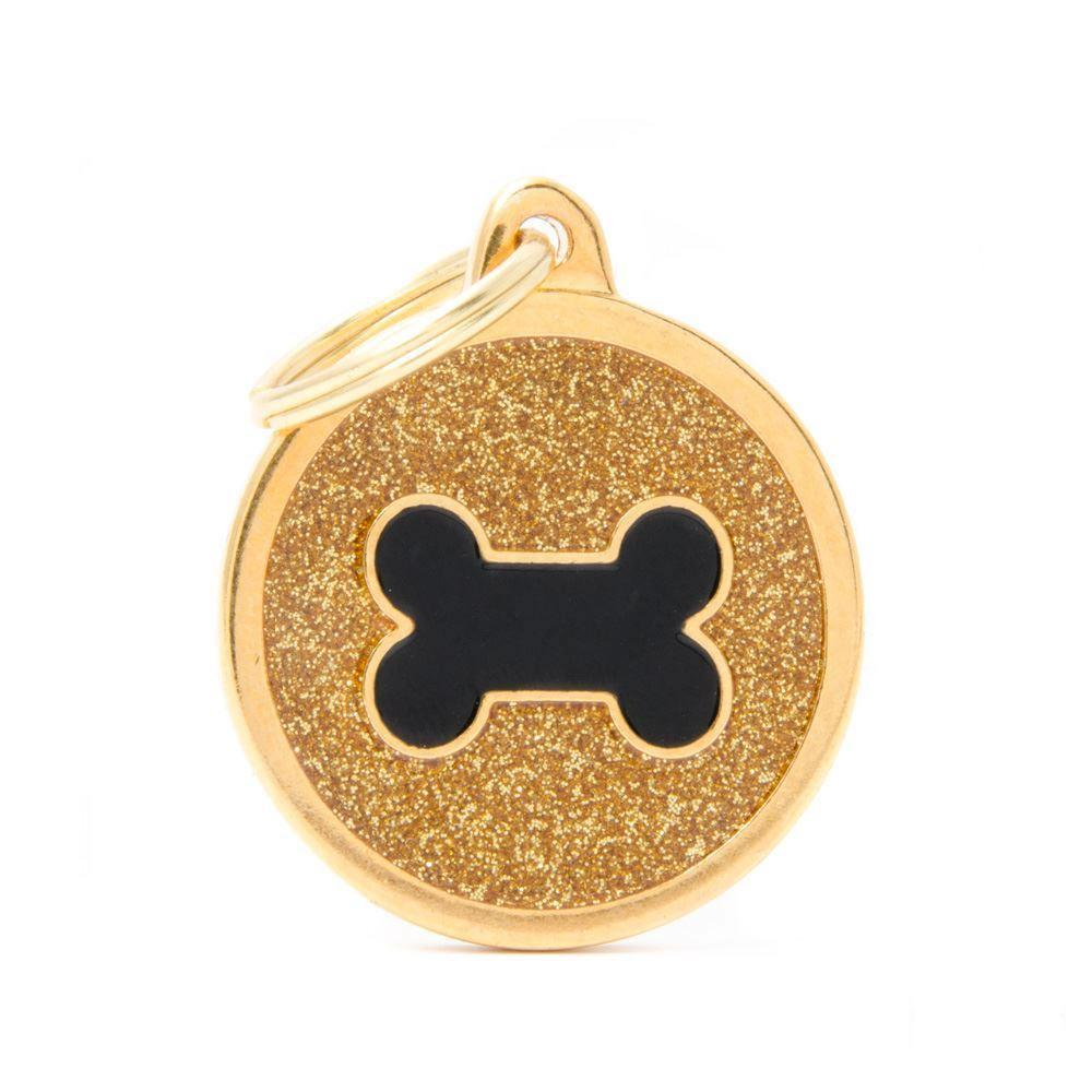 My Family Shine Gold Circle With Black Bone Dog I.D. Tags - 3B