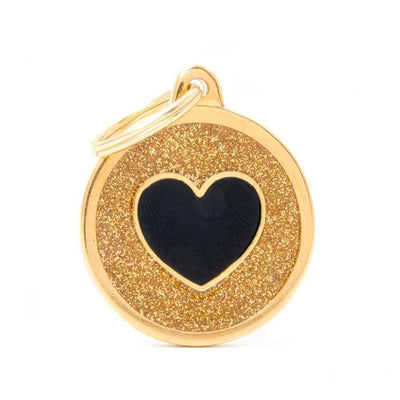 My Family Shine Gold Circle With Black Heart Dog I.D. Tags - 3B