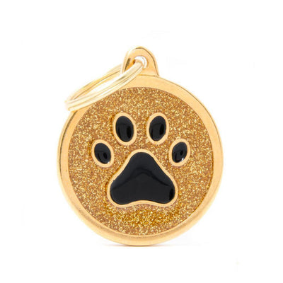 My Family Shine Gold Circle With Black Paw Dog I.D. Tags - 3B