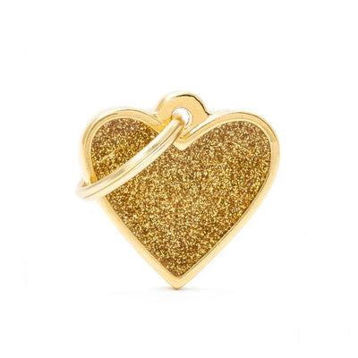 My Family Shine Gold Small Heart Dog I.D. Tags - 2B