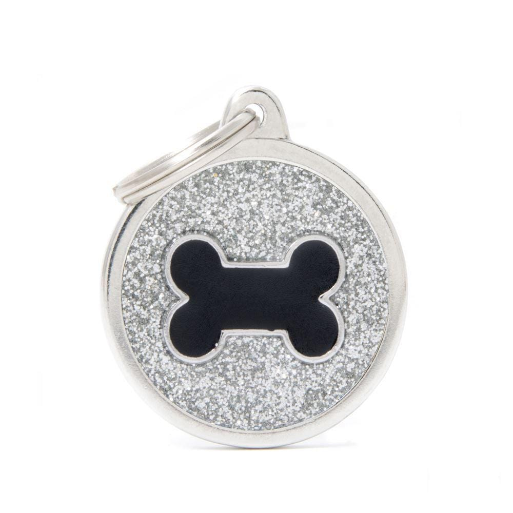 My Family Shine Grey Circle With Black Bone Dog I.D. Tags - 3B