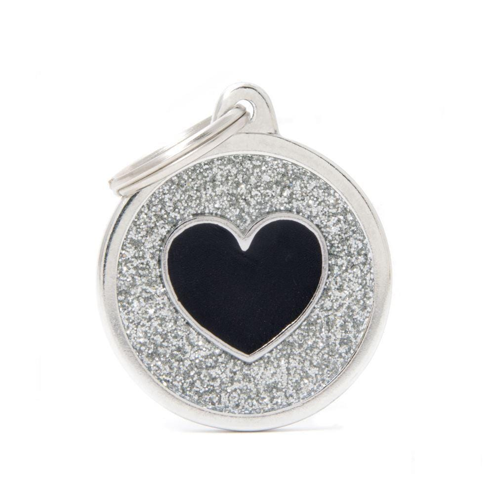 My Family Shine Grey Circle With Black Heart Dog I.D. Tags - 3B