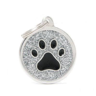 My Family Shine Grey Circle With Black Paw Dog I.D. Tags - 3B
