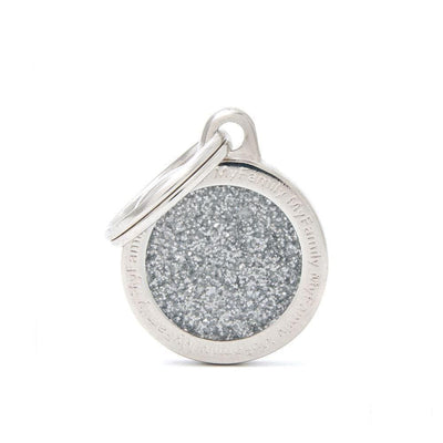My Family Shine Grey Small Circle Dog I.D. Tags - 2B