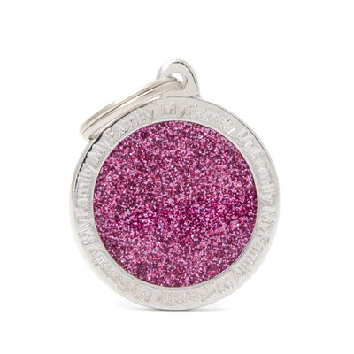 My Family Shine Pink Big Circle Dog I.D. Tags - 3B