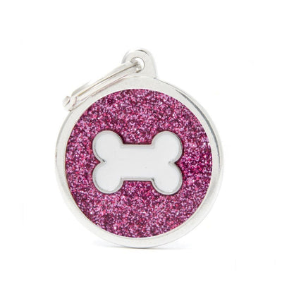 My Family Shine Pink Circle With White Bone Dog I.D. Tags - 3B