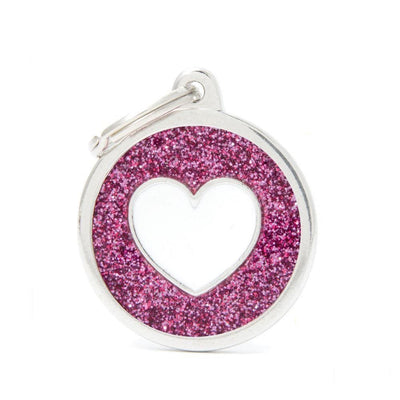 My Family Shine Pink Circle With White Heart Dog I.D. Tags - 3B