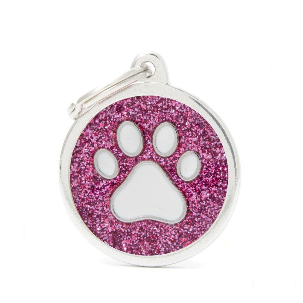 My Family Shine Pink Circle With White Paw Dog I.D. Tags - 3B