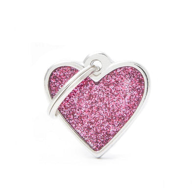 My Family Shine Pink Small Heart Dog I.D. Tags - 2B