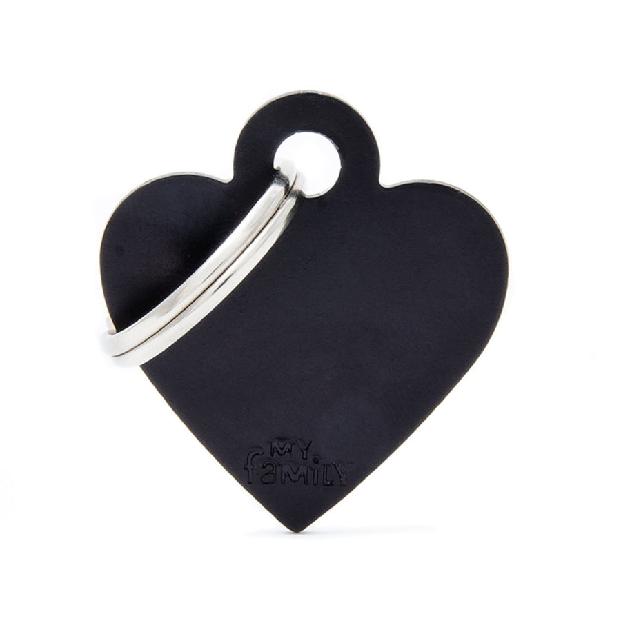 My Family Small Aluminium Black Heart Pet I.D. TAG