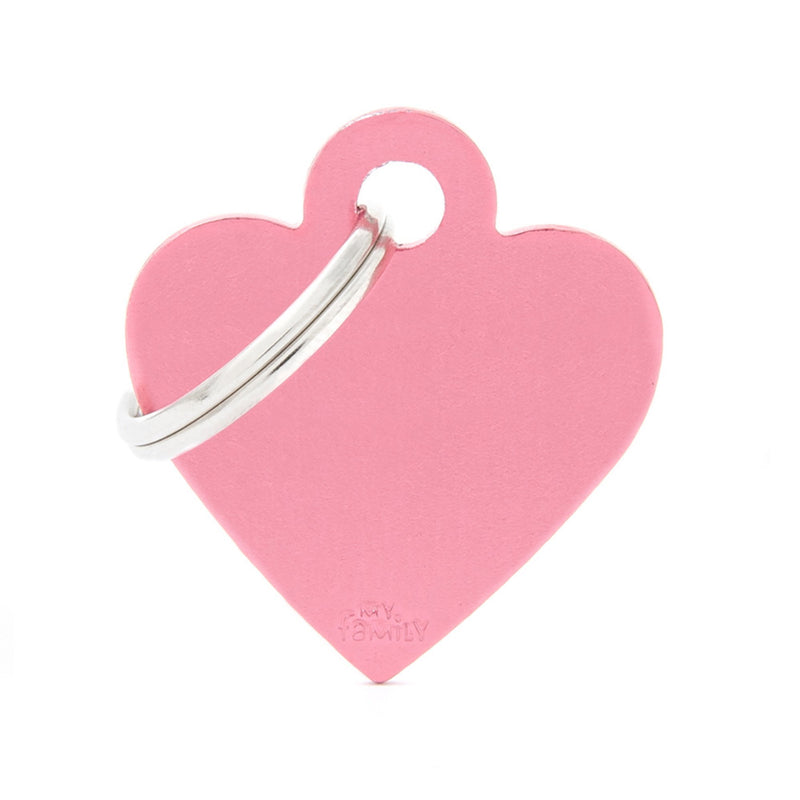 My Family Small Aluminium Pink heart Pet I.D. TAG