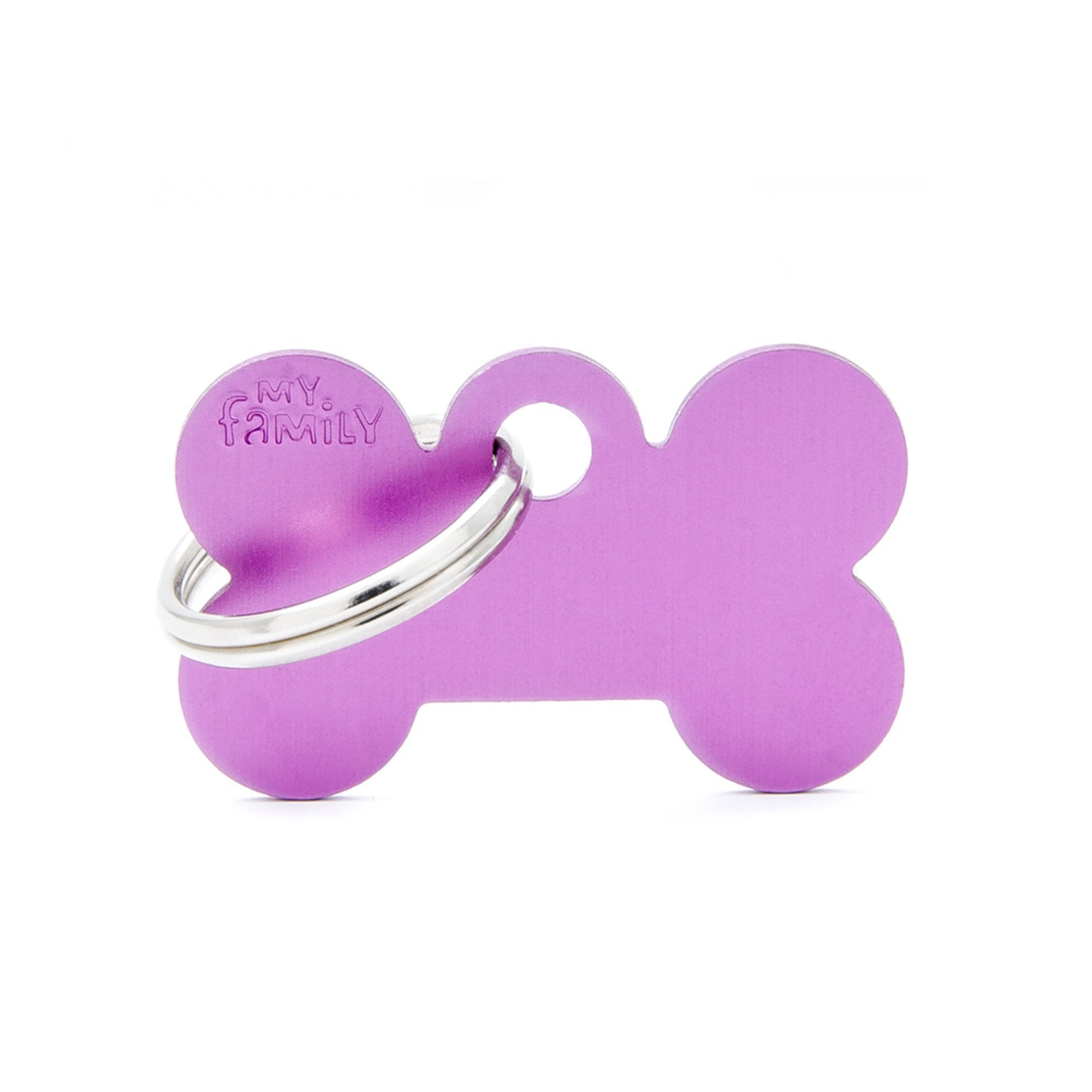 My Family Small Aluminium Purple Bone PET I.D TAG
