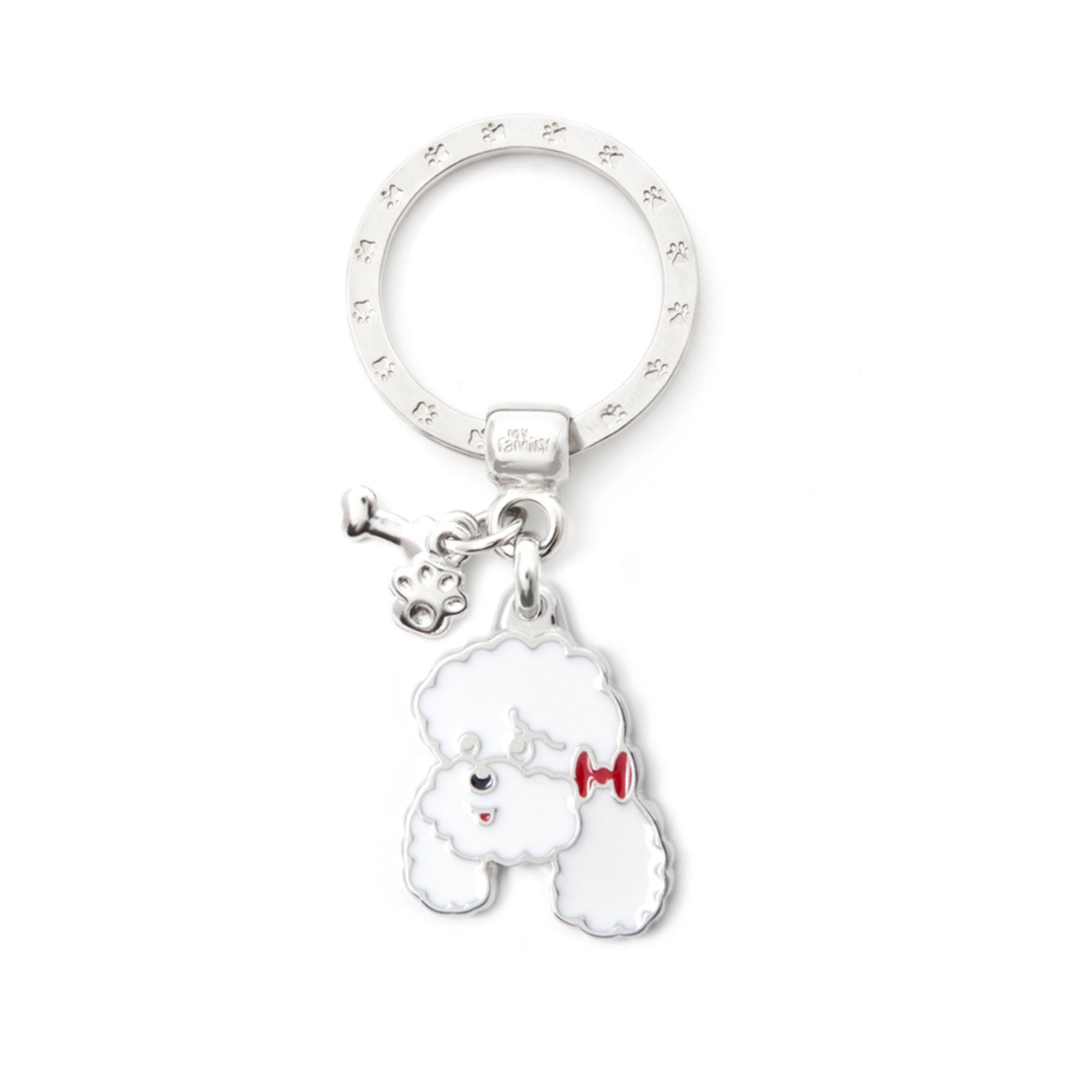 My Family White Poodle Pendant and Keychain
