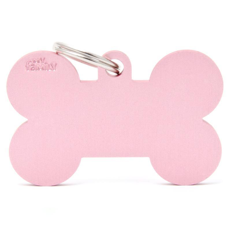My Family XL Aluminium Pink Bone PET I.D TAG