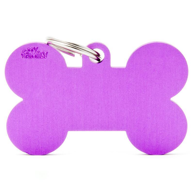 My Family XL Aluminium Purple Bone PET I.D TAG