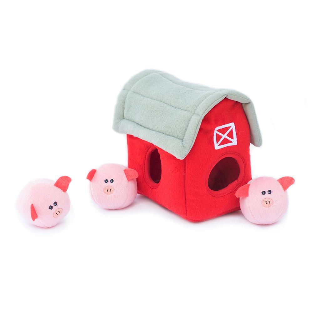 Zippy Paws Burrow Pig Barn with Bubble Babiez Dog Toys
