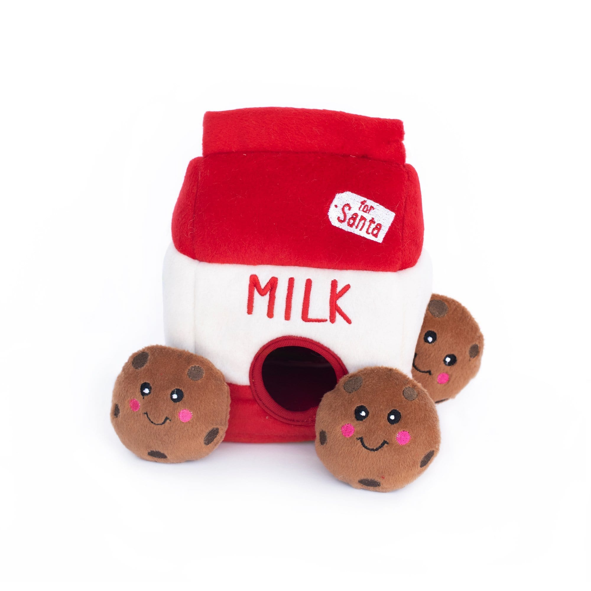 Zippy Paws Holiday Burrow - Santa's Milk and Cookies Dog Toys