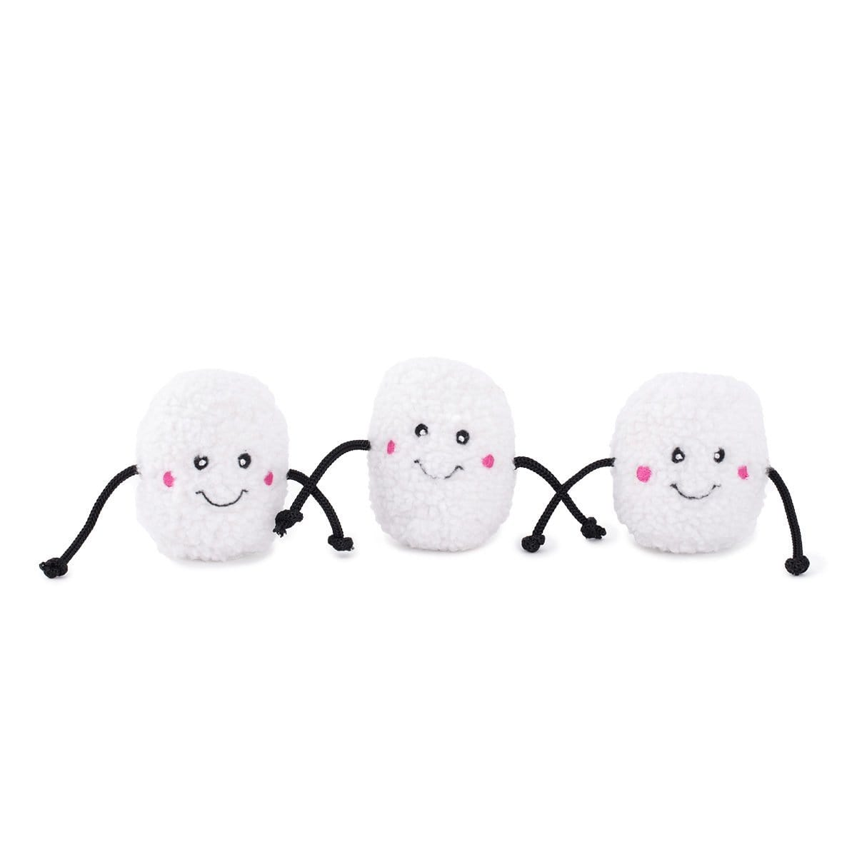 Zippy Paws Holiday Miniz 3-Pack Marshmallows Dog Toys